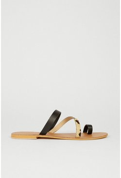 Real Leather Animal Mix Sandal