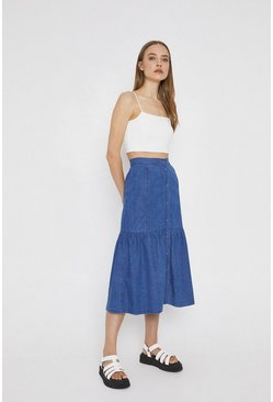 Mid wash Chambray Tiered Button Front Skirt