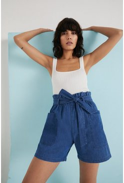 Mid wash Chambray Soft Belted Shorts