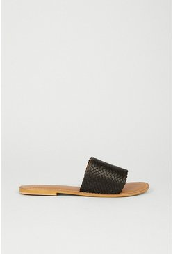 Black Leather Weave Detail Slip On Shoe
