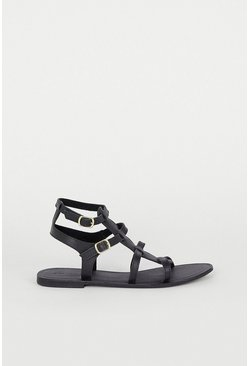 Black Real Leather Strappy Gladiator Sandal