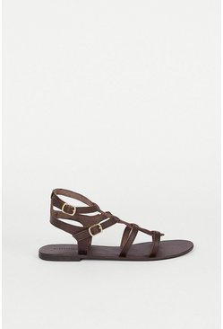 Chocolate Real Leather Strappy Gladiator Sandal