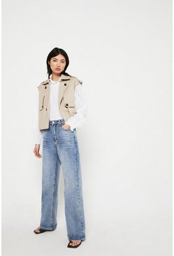 Stone  Sleeveless Cropped Trench