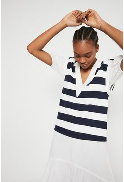 Navy Stripe V Neck Tank Sweat