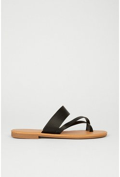 Black Toe Loop Minimal Sandal
