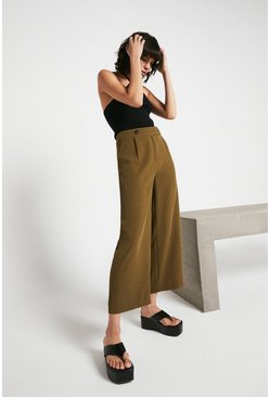 Khaki Button Tab Wide Crop
