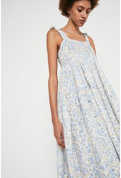 Pale blue Ditsy Floral Tie Shoulder Midi Dress