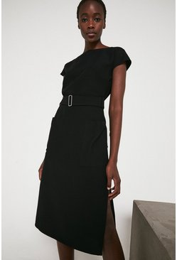 Black Pocket Soft Shift Dress With Belt