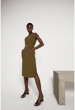Khaki Pocket Soft Shift Dress With Belt