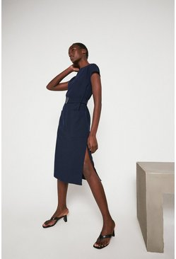 Navy Pocket Soft Shift Dress With Belt