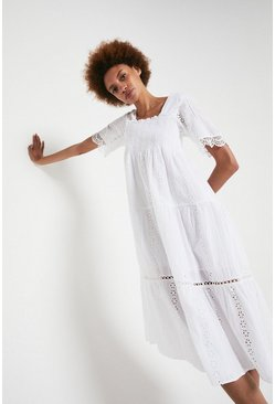 White Midi Dress With Cutwork