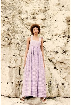 Lilac Gingham Tie Shoulder Maxi Dress