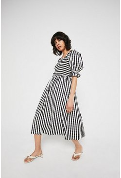 Black Gingham Square Neck Puff Sleeve Midi Dress