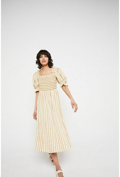 Cream Gingham Square Neck Puff Sleeve Midi Dress