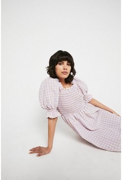 Pink Gingham Square Neck Puff Sleeve Midi Dress
