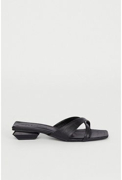 Black Asymmetric Slip On Shoe