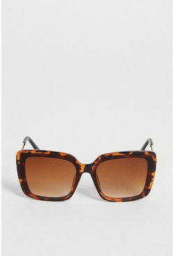 Brown Tortoise Shell Square Frame Sunglasses