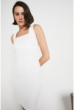 Ivory Square Neck Fitted Dress