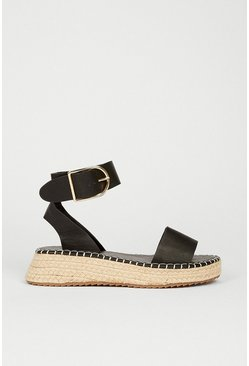 Black Buckle Detail Espadrille