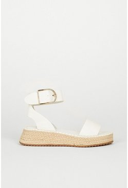 White Buckle Detail Espadrille
