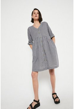 Mono Gingham Smock Mini Dress