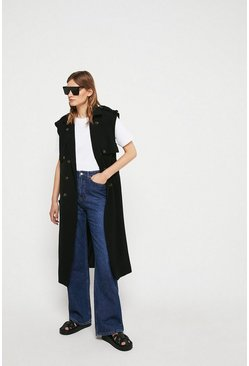 Black Sleeveless Trench Coat