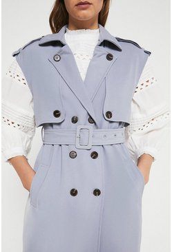Blue Sleeveless Trench Coat
