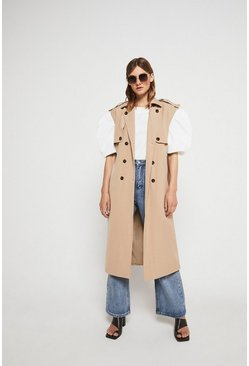 Stone Sleeveless Trench Coat