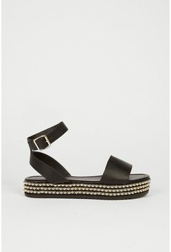 Black Studded Flaform Sandal