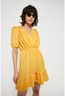 Yellow Mini Wrap Dress With Frill & Shirring