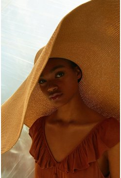 Tan Oversized Statement Straw Hat