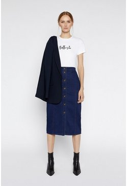 Dark wash Denim Button Through Skirt