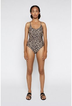 Brown Animal Low Back Swimsuit