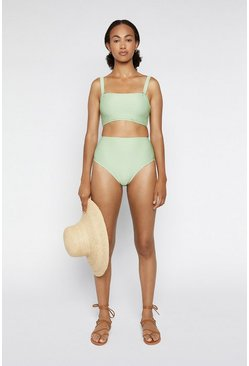 Light green Square Neck Ribbed Bikini Top