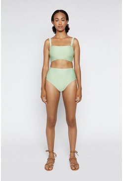 Light green Ribbed Bikini Bottom