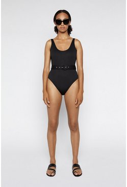 Black Textured Belted Swimsuit