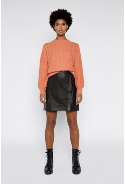 Coral Soft Stitch Wide Boxy Jumper