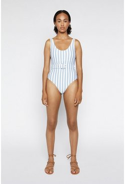 Light blue Breton Stripe Belted Swimsuit