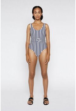 Navy Breton Stripe Belted Swimsuit