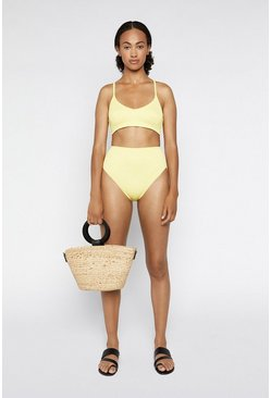 Yellow Criss Cross Ribbed Bikini Top