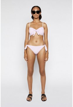 Lilac Gingham Tie Side Bikini Bottom