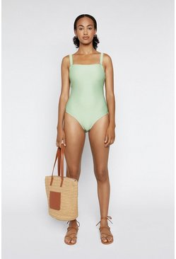 Light green Square Neck Ribbed Swimsuit