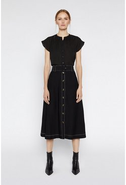 Black Topstitch Belted Midi Skirt