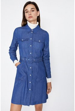 Dark wash Buckle Detail Shirt Dress