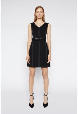 Black Contrast Stitch Dress
