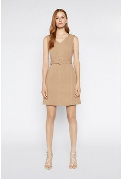Camel Contrast Stitch Dress