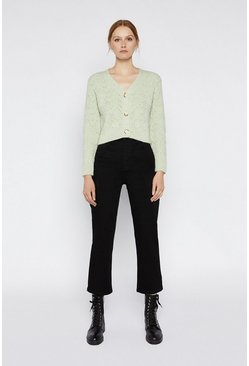 Mint Stitchy Cropped Cardigan