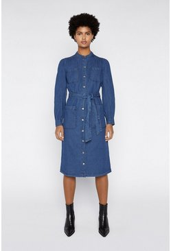 Dark wash Grandad Collar Shirt Dress