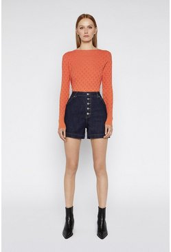 Coral Ribbon Stitch Slash Neck