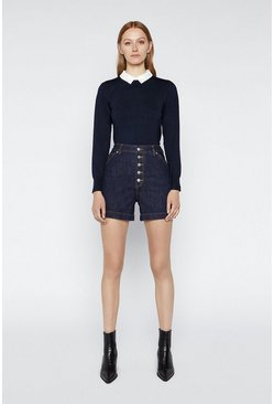 Navy Lace Collar Puff Sleeve Jumper